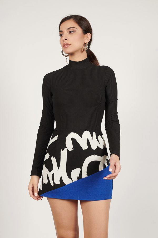 Trendy Black & Blue Skirt - Color Blocked Skirt - Black & Blue ...