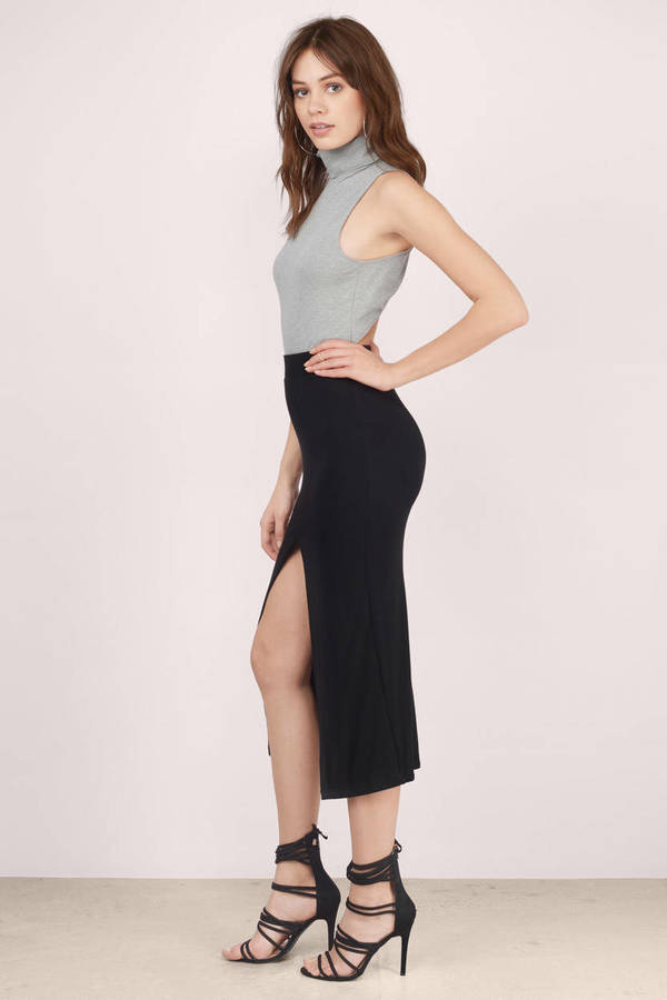 Sexy Black Skirt - Midi Skirt - Front Slit Skirt - Black Skirt - $9.00