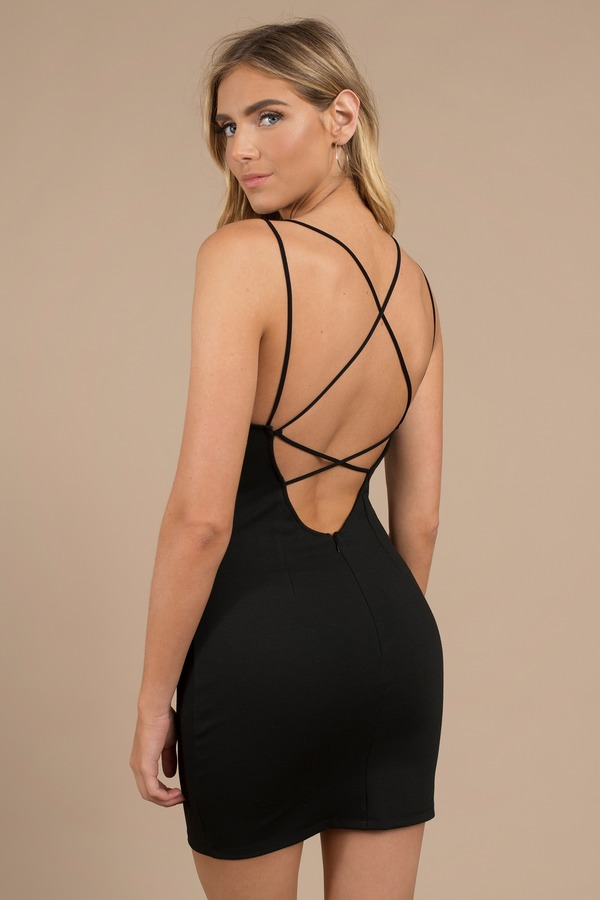 f12a937094 Sexy Black Dress - Strappy Back - Plunging - Black Dress -  68
