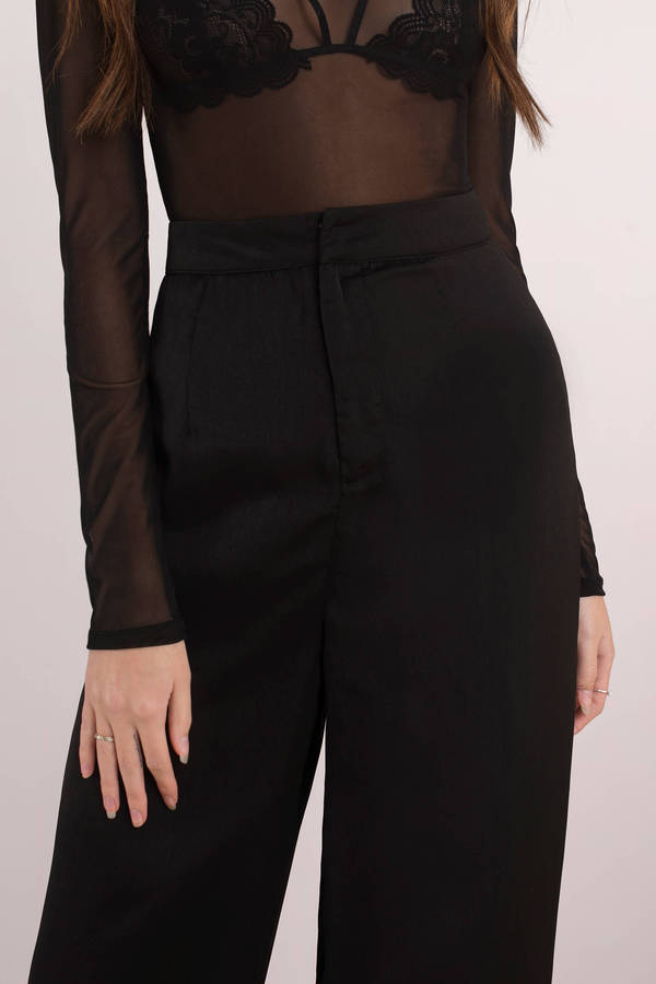 By Your Side Black Wide Leg Satin Pants
