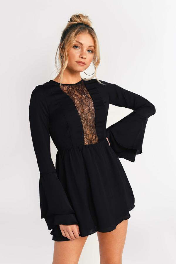 6e1b98e774 ... Tobi Long Sleeve Dresses, Black, Carolina Lace Skater Dress, Tobi