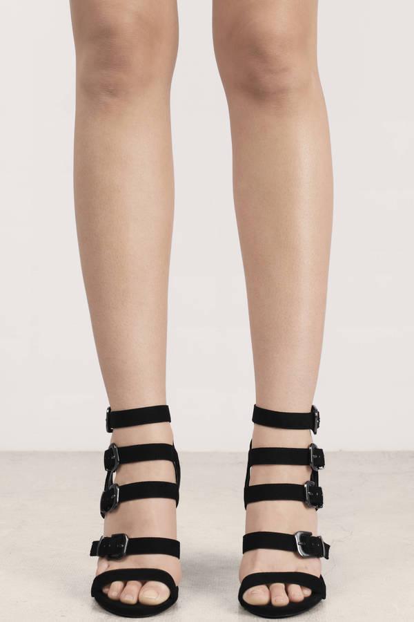 1d9305c34ed Black Heels - Strappy Faux Suede Heels - Black Buckled Heels - S ...