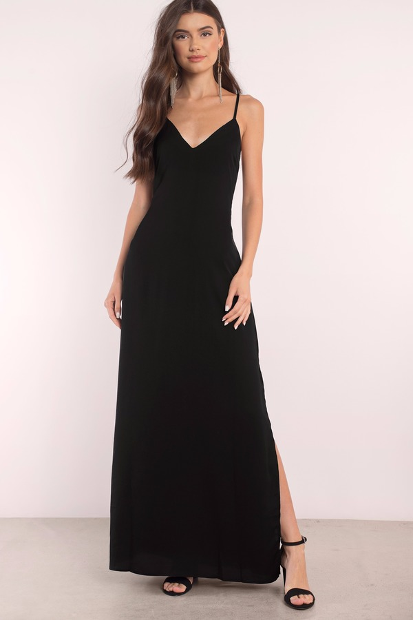 Trendy Black Dress Lace Up Dress Full Dress Maxi
