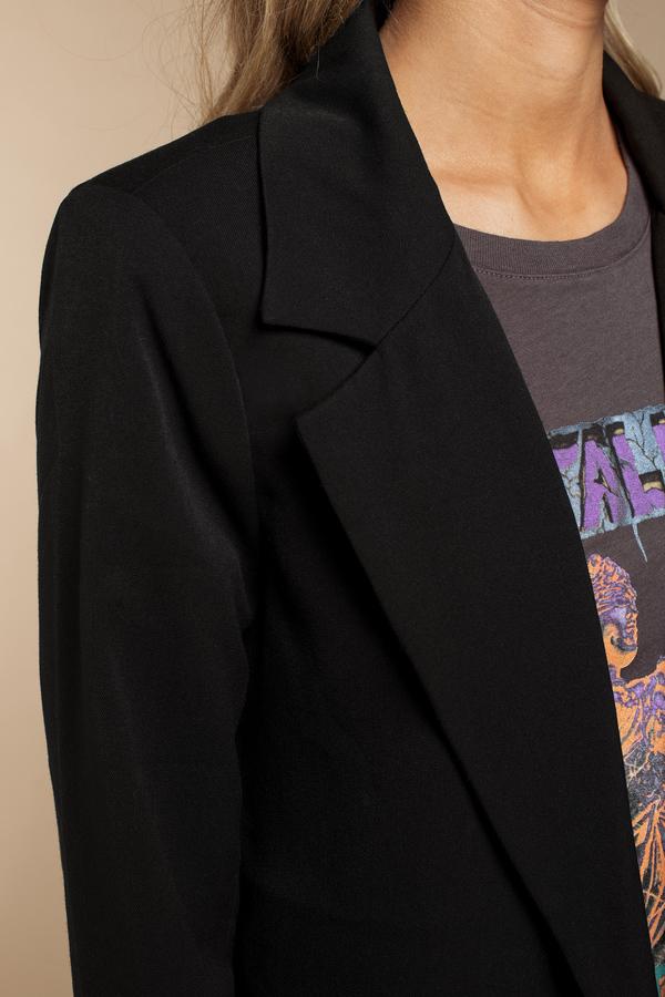 Trendy Black Outerwear - Front Button Outerwear - Black Blazer ...