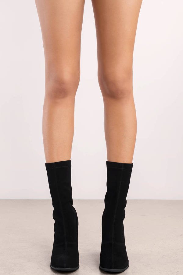 b541016e1df1f Black Sol Sana Boots - Pointed Sock Boots - Black Night Out Boots ...