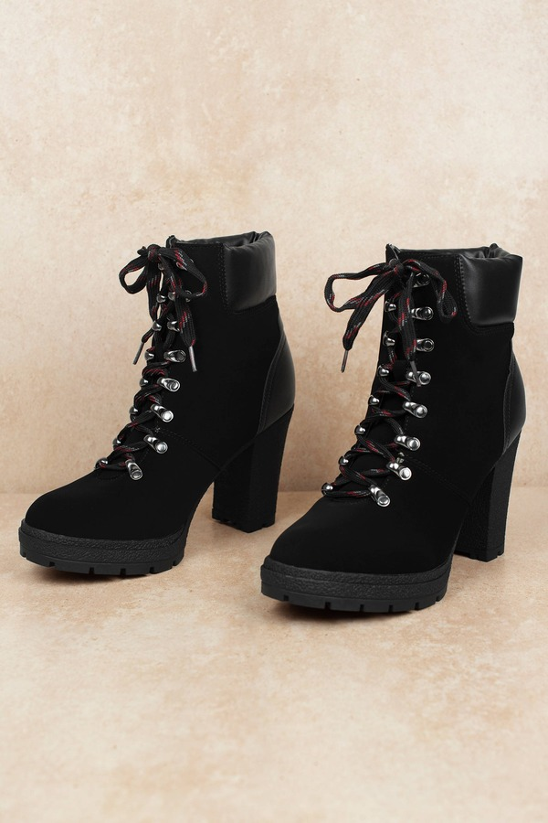 6b298d57bd6 Black Ankle Booties - Cute Combat Boots - Black Faux Suede Booties ...