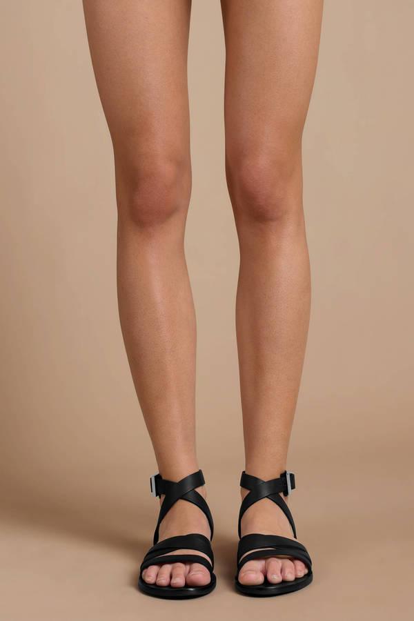 77abbbc000bd Black Sol Sana Sandals - Leather Wrap Sandals - Black Ankle Wrap ...