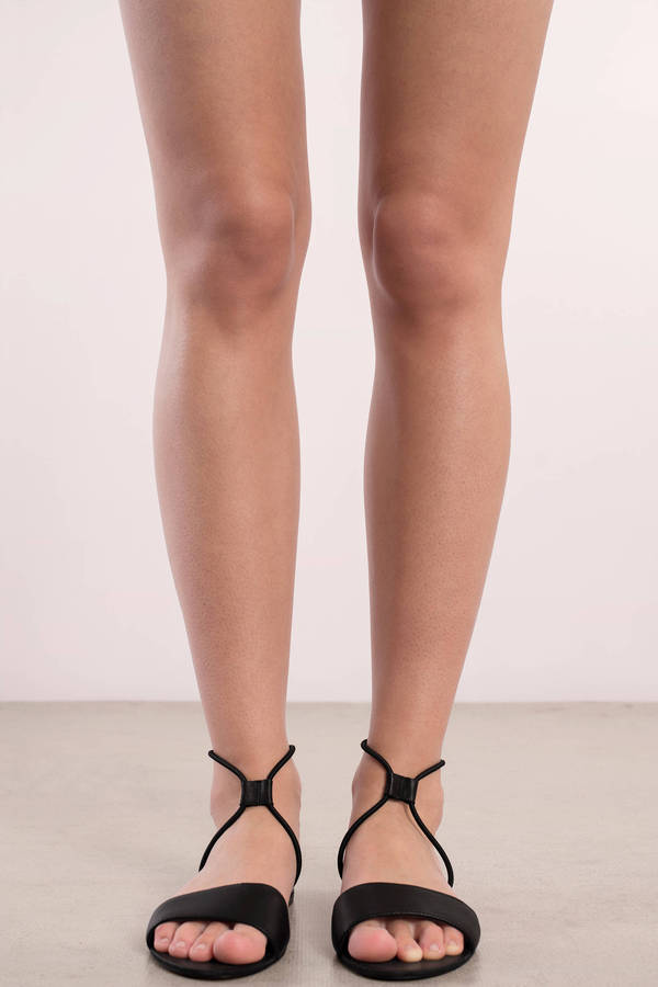 Black Dolce Vita Flats - Ankle Strap Sandals - Black Leather Sandals ...
