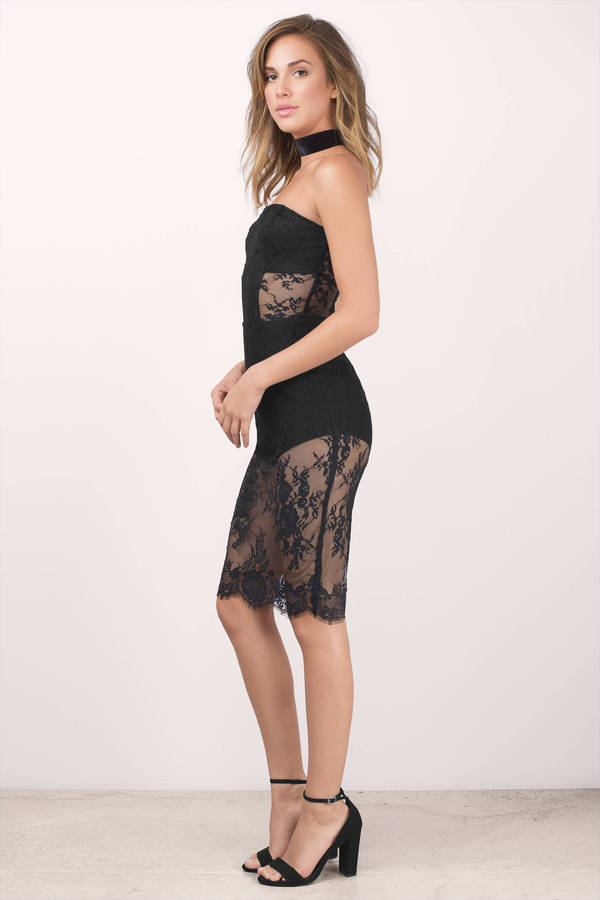 Cute Black Dress - Lace Dress - Strapless Flower Dress - Bodycon ...