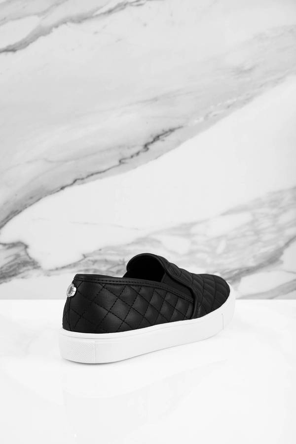 f28a8e49f22 ... Steve Madden Steve Madden Ecentrcq Black Leather Quilted Slip On  Sneakers ...