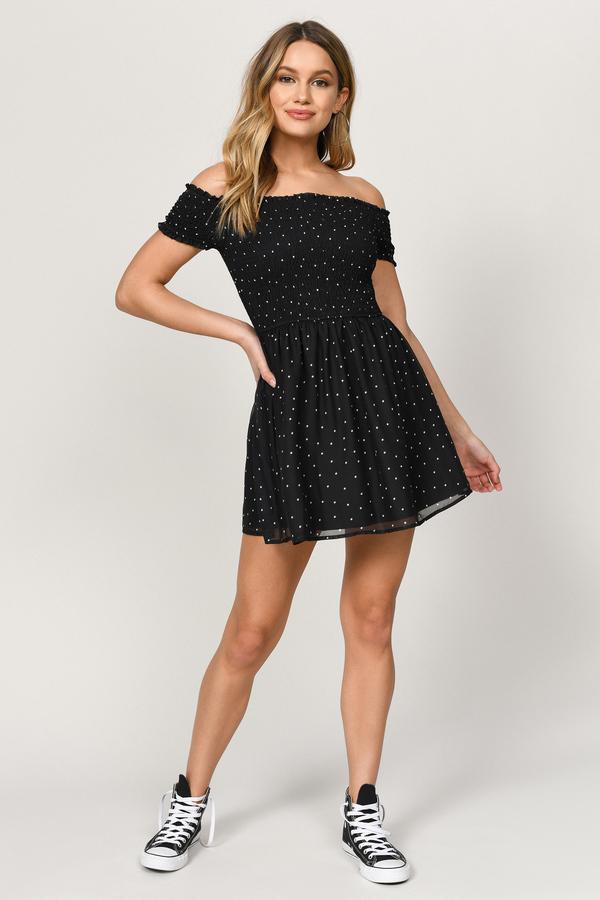 cec3ed7a6430 Black Skater Dress - Strapless Polka Dot Dress - Bardot Skater Dress ...