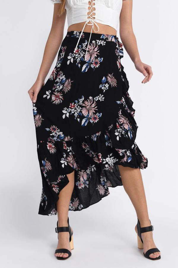 Skirt - Boho Wrap Skirt - Black Skirt - Floral Print Maxi Skirts ...