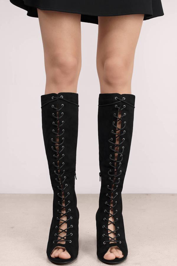 Toe Chunky Bow Lace Fashion Knee High Boots