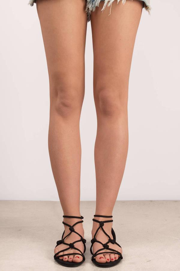 714772779 Black Sandals - Ankle High Sandals - Black Summer Sandals - £15 ...
