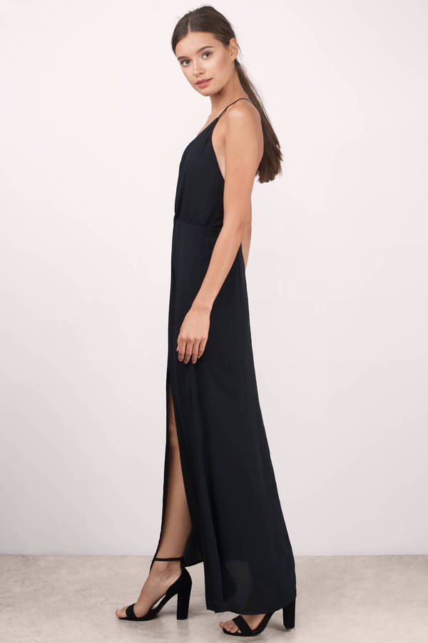 Cute Black Dress - Front Slit Dress - Cross Back Dress - $44 | Tobi US