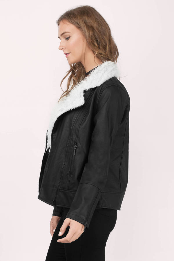 Trendy Black Jacket - Moto Jacket - Faux Fur Jacket - Faux Leather ...