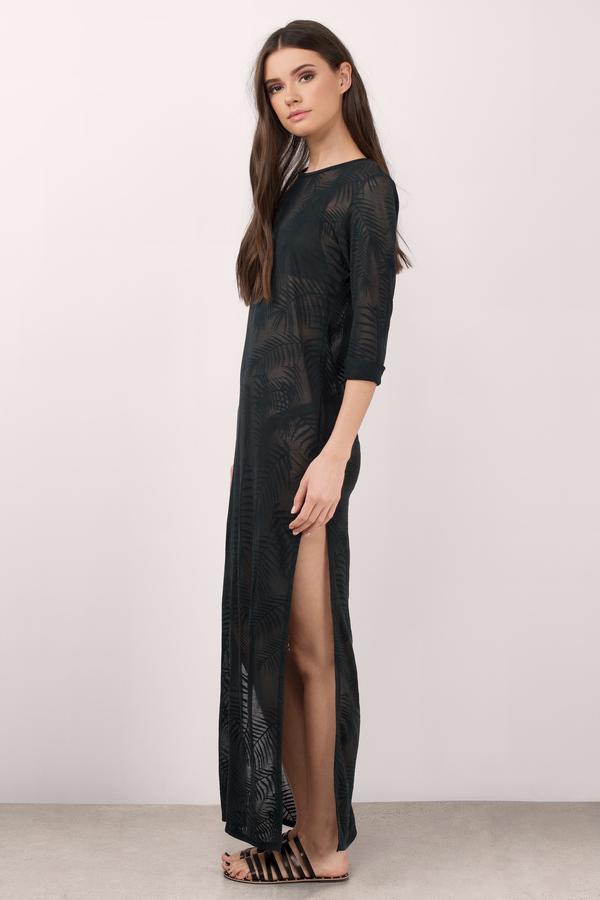 Black Cover Up Dress - Side Slit Dress - Pool Dress - Day Dress - $45