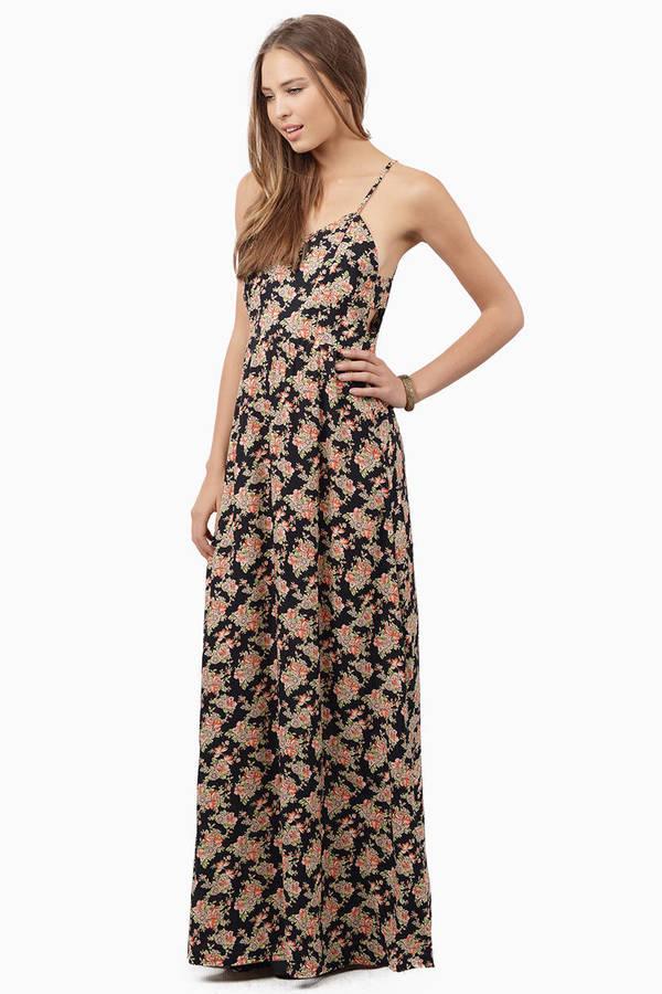 Black floral lace insert boho dress