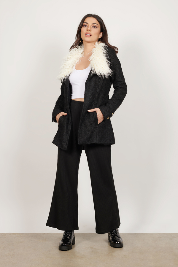 Trendy Black Coat - Black Coat - Faux Fur Coat - $32.00
