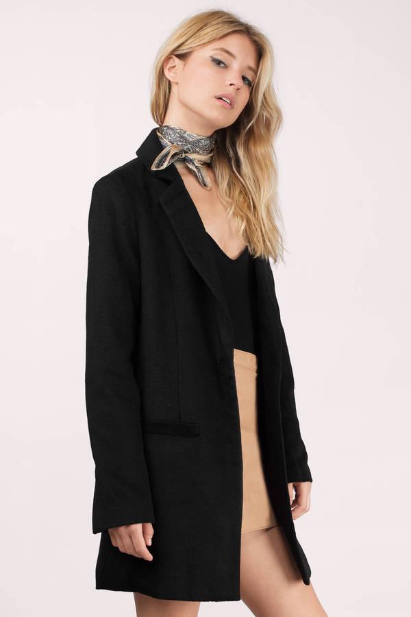 Black Coat - Collared Coat - Light Black Coat - $44.00