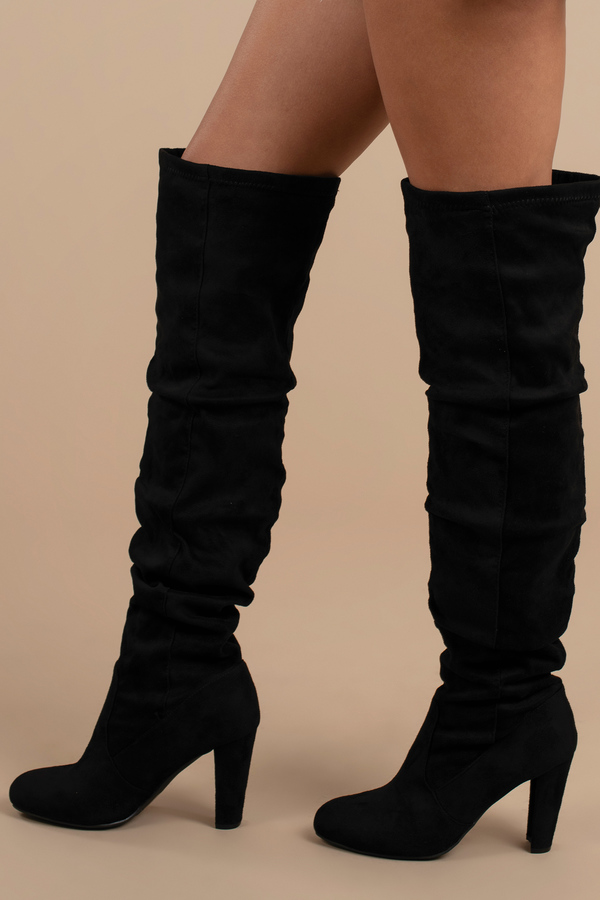 fc83bb192472d Trendy Black Boots - Slouchy Knee High Boots - Black Vegan Boots ...