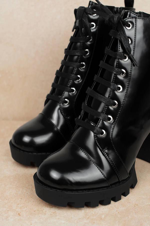 3c1c262c1b38 Glenna Black Lace Up Combat Booties Glenna Black Lace Up Combat Booties ...
