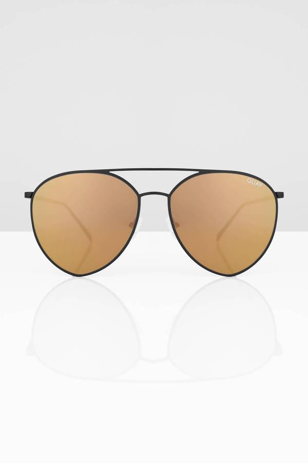 57344f3fa8 ... QUAY Quay Indio Black   Gold Mirrored Aviator Sunglasses ...