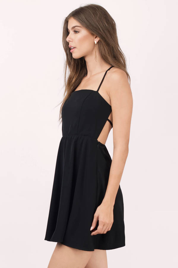 trendy black skater dress open back dress skater dress