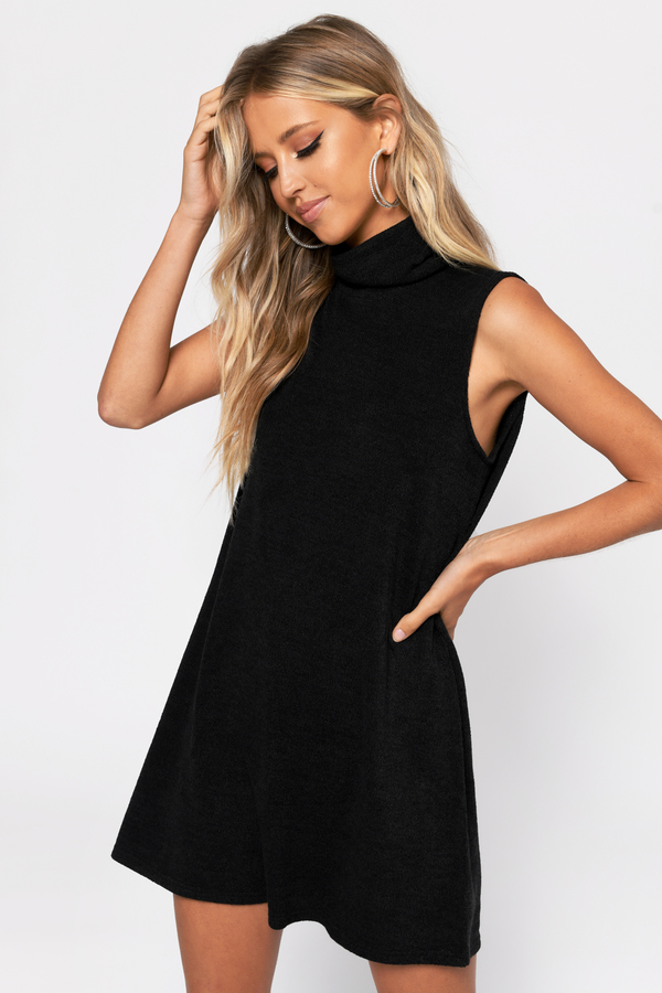 41c762087bb7f Black Shift Dress - Turtleneck Dress - Black Sleeveless Dress -  19 ...