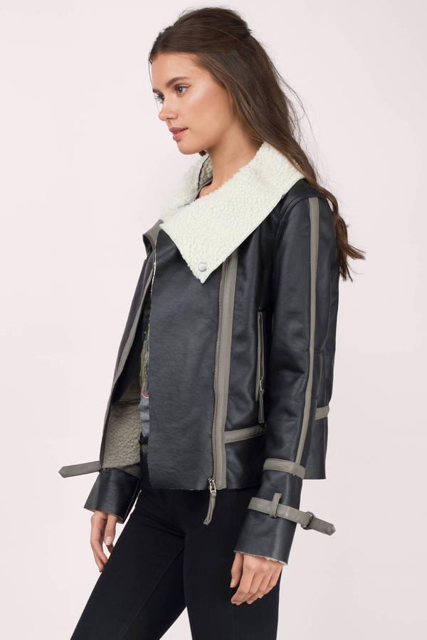 Black & Grey Coat - Black Coat - Fur Collar Coat - Dark Black Coat ...