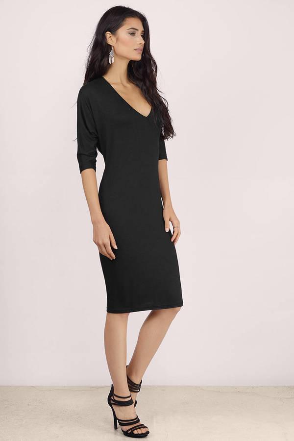 Black Dress Backless Dress Forest Black Midi Dress