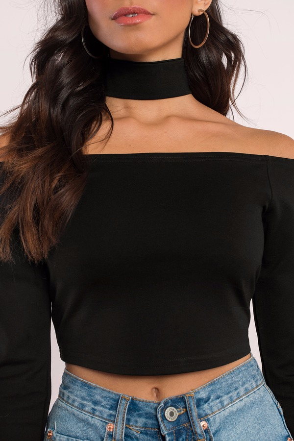 1426f68be27e05 Trendy Black Crop Top - Off Shoulder Top - Black Top - Black Crop ...