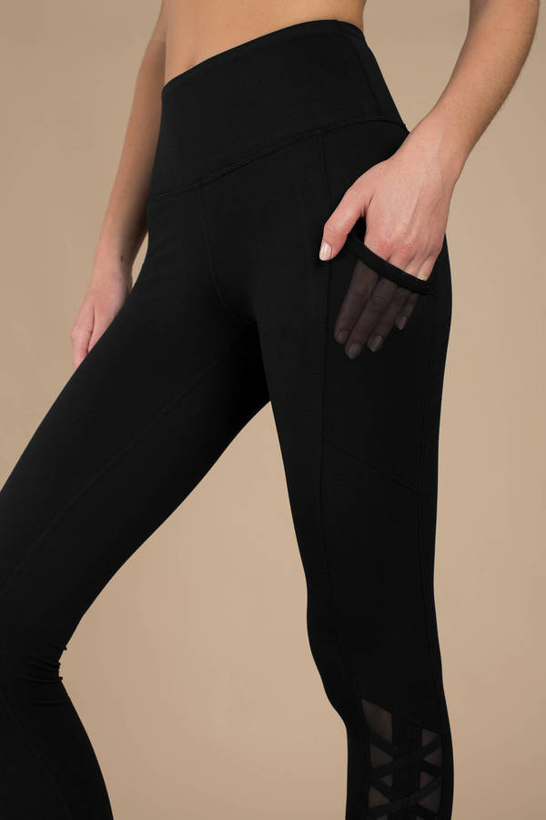 53d502d28e Black Leggings - High Waisted Leggings - Black Mesh Pocket Leggings ...