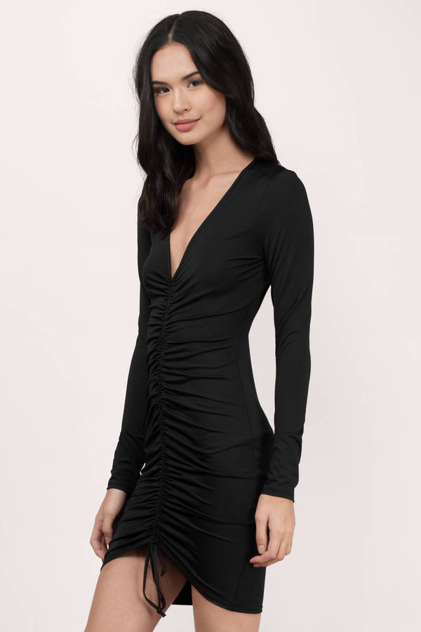 Sexy Black Bodycon Dress - Black Dress - Ruched Dress - $58.00