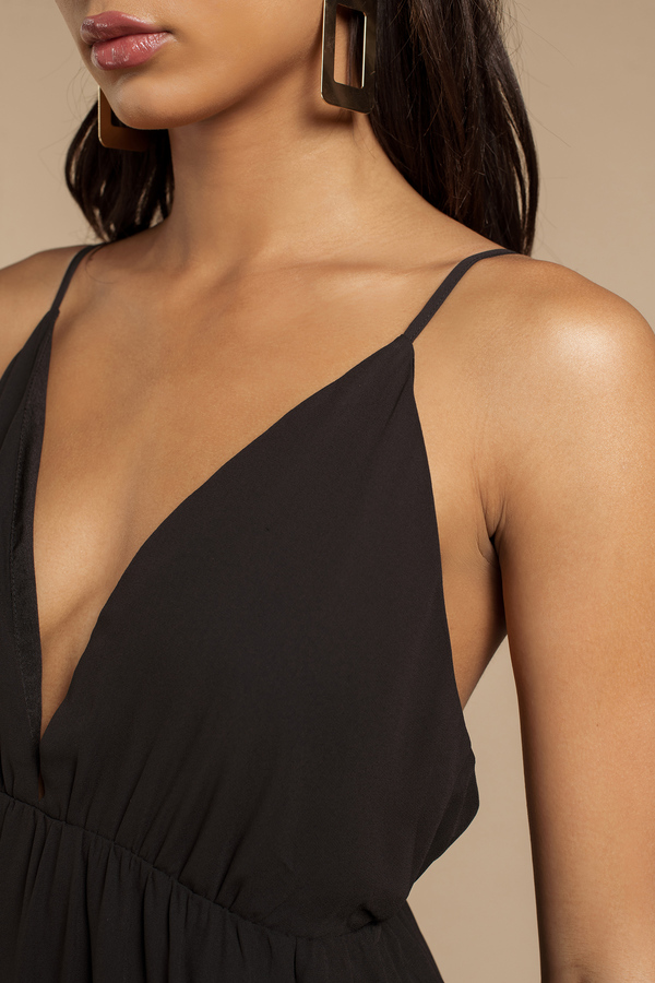 Lovely Black Maxi Dress - Deep V Dress - Black Dress - $66.00