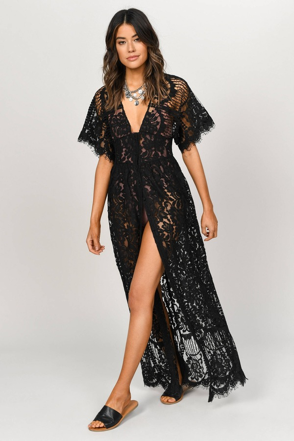 b7ab6da6d Trendy Black Maxi Dress - Lace Wrap Dress - Black Corset Maxi - £48 ...