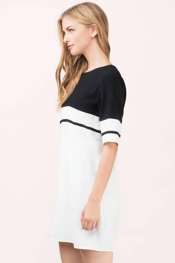 613783695350 Black & Ivory Dress - Black Dress - Striped Swing Dress - Shift ...