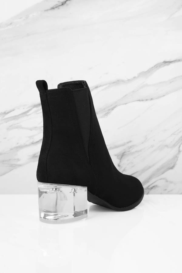 Jeanette Black Lucite Suede Booties Jeanette Black Lucite Suede Booties ...