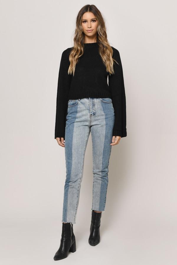 954416945b Cute Black Sweater - Cropped Sweater - Black Lace Up Sweater -  24 ...