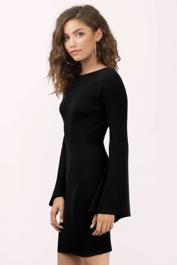 Cute Black Bodycon Dress - Knitted Dress - $26.00