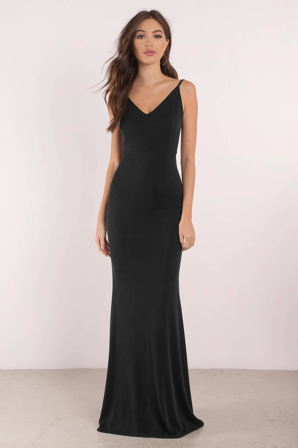 Keep It On The Low Back Black Maxi Dress - £96 | Tobi