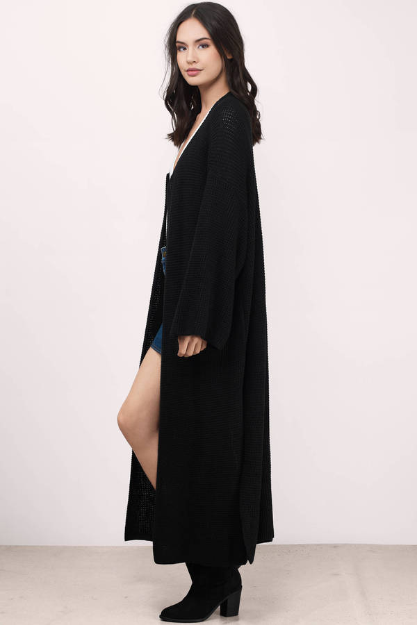 Cute Black Cardigan - Oversized Cardigan - Ankle Length Cardigan ...