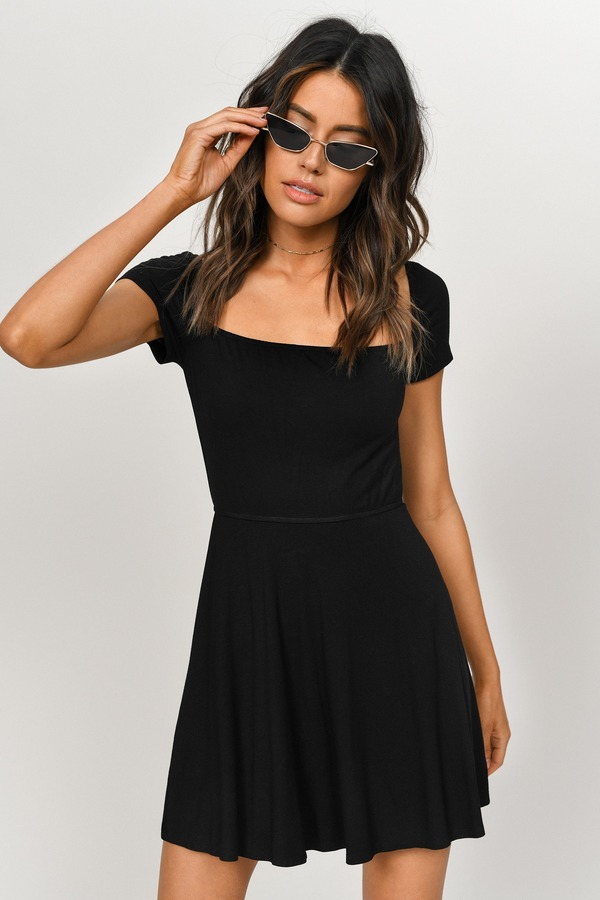 585ce79e7756 ... Tobi Little Black Dresses, Black, Kia Square Neck Skater Dress, Tobi