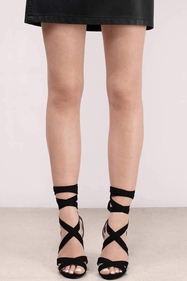 Trendy Black Heels - Lucite Heels - Suede Heels - Lace Up Heels ...