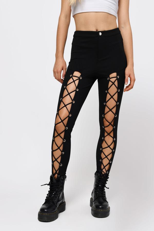 stylish black pants front lace up leggings black