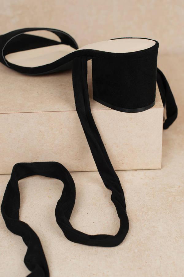5409dec4a821 ... Larina Black Faux Suede Ankle Wrap Heels ...