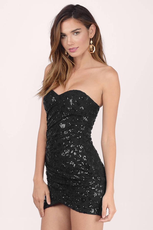 Cheap Black Bodycon Dress - Sequin Dress - $21.00