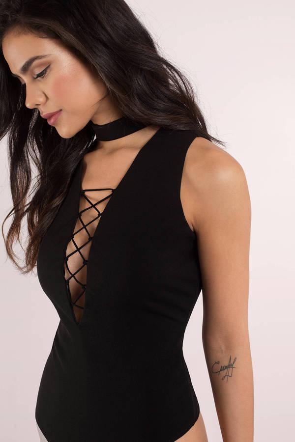 9c2ba1a003 Cute Black Bodysuit - Lace Up Bodysuit - Black Bodysuit -  50