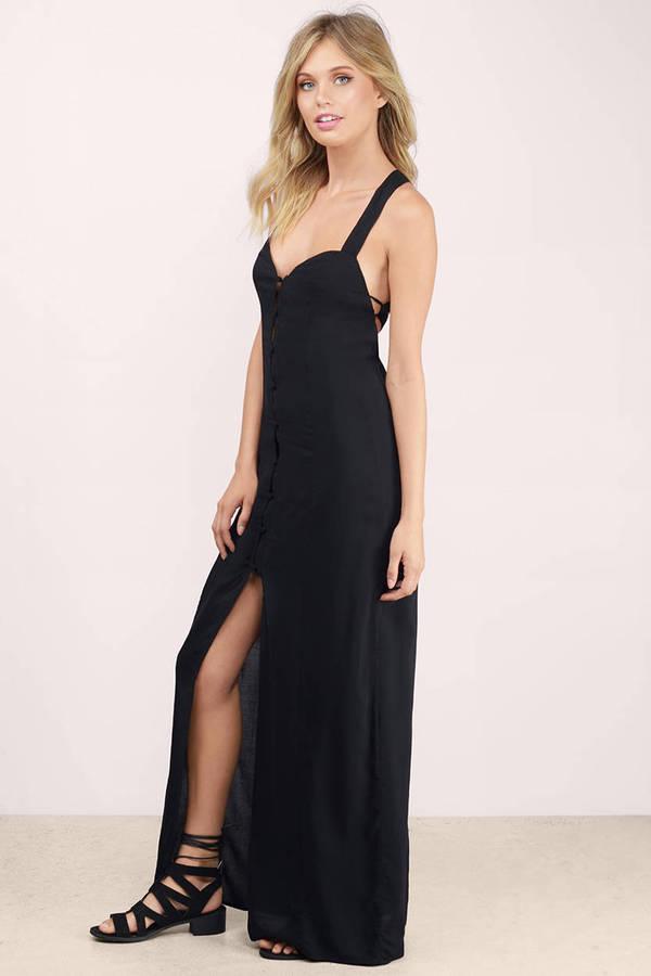 Cheap Black Maxi Dress High Slit Dress Maxi Dress