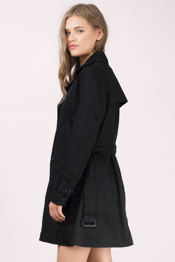 Black Coat - Waist Tie Coat - Trench Coat - Black Trench Coat ...